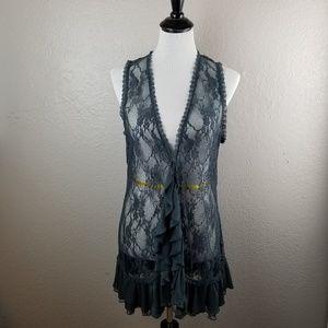 Women's boho lace & knit vest / cover-up